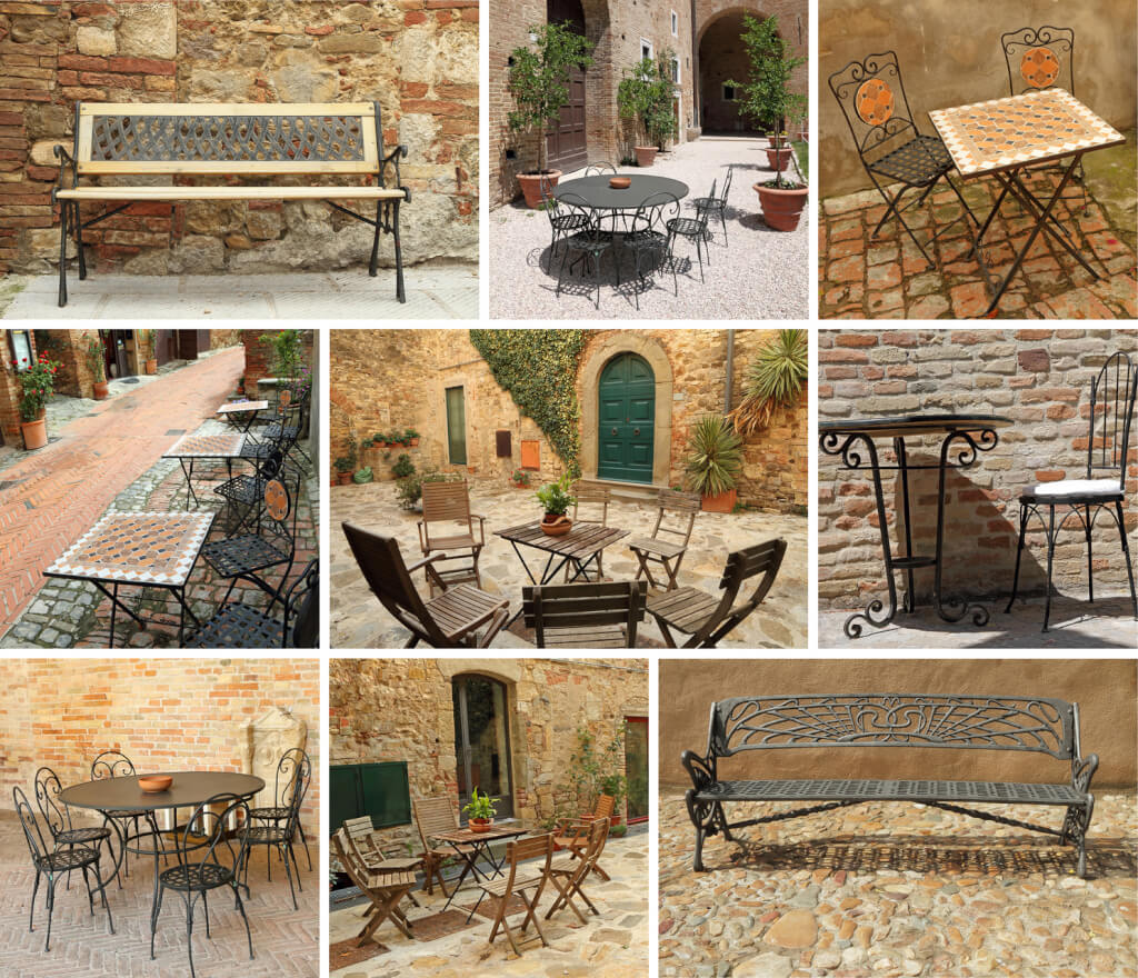 vintage garden furniture collage