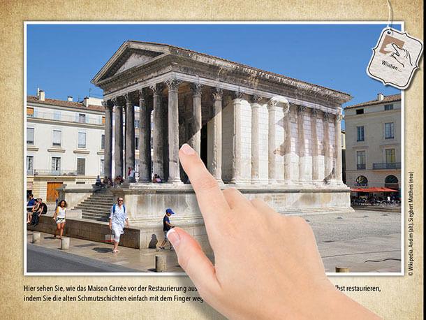 """In der Travel Appetizer App über Nimes kann man selbst """"Hand anlegen"""" und den Tempel Maison Carree restaurieren – klicken Sie einfach mal auf das Bild ..."""