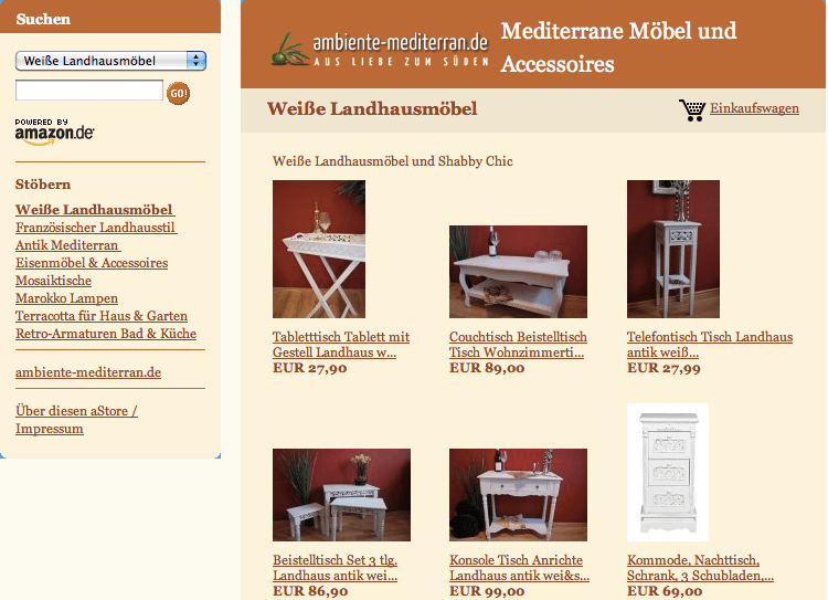 Online-Shop von ambiente-mediterran.de
