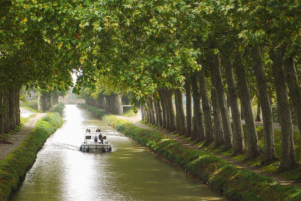 das Bild zeigt ein Boot auf dem platanengesäumten Kanal