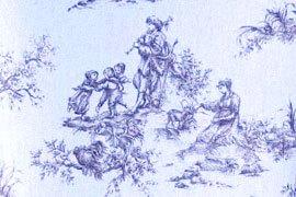 das Bild zeigt ein Toile-de-jouy Motiv, blaue Firguren auf weißem Stoff