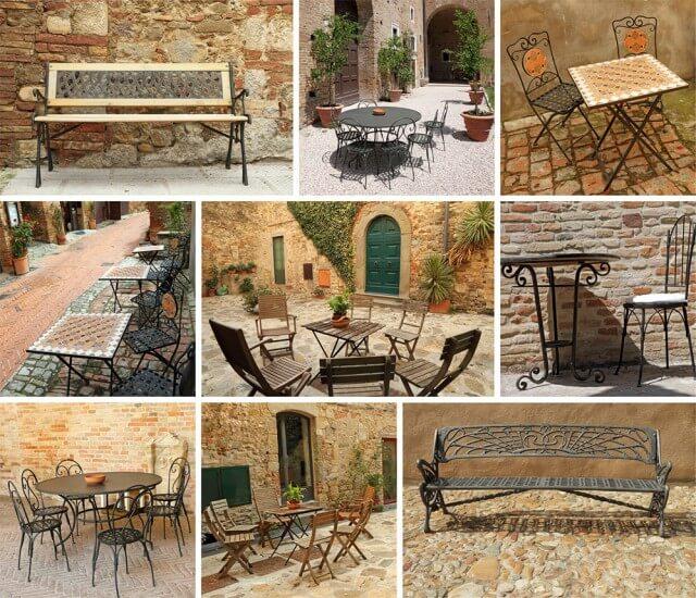Das Bild zeigt mehrere Motive von mediterranen Bänken und Tischen