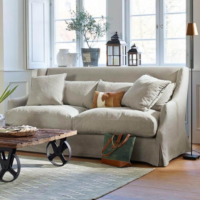 graues sofa garvin ambiente mediterran. Black Bedroom Furniture Sets. Home Design Ideas