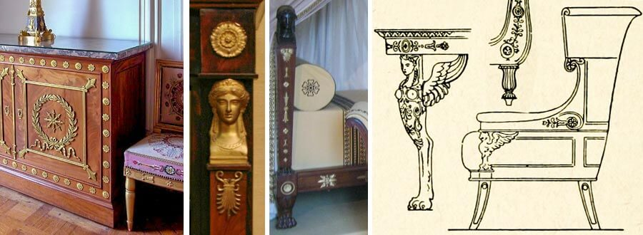 Merkmale Empire-Stil: Löwenfüße, griechisch-römisch-ägyptische Symbole