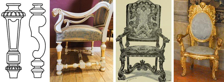 Merkmale Louis-Quatorze-Stil, geschwungen Beine, und Armlehnen, opulente Verzierungen