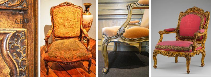Merkmale Louis-Quinze-Stil: zurückgenommene Armlehnen, florale und Rocaille-Muster