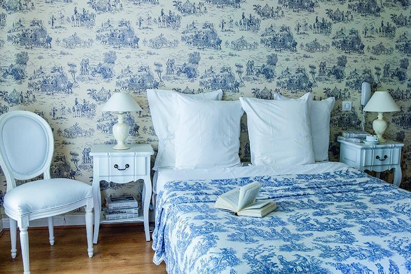 Villa Rivoli, Zimmer Nr. 15 im blauen Toile-de-Jouy-Stil eingerichtet @ Villa Rivoli