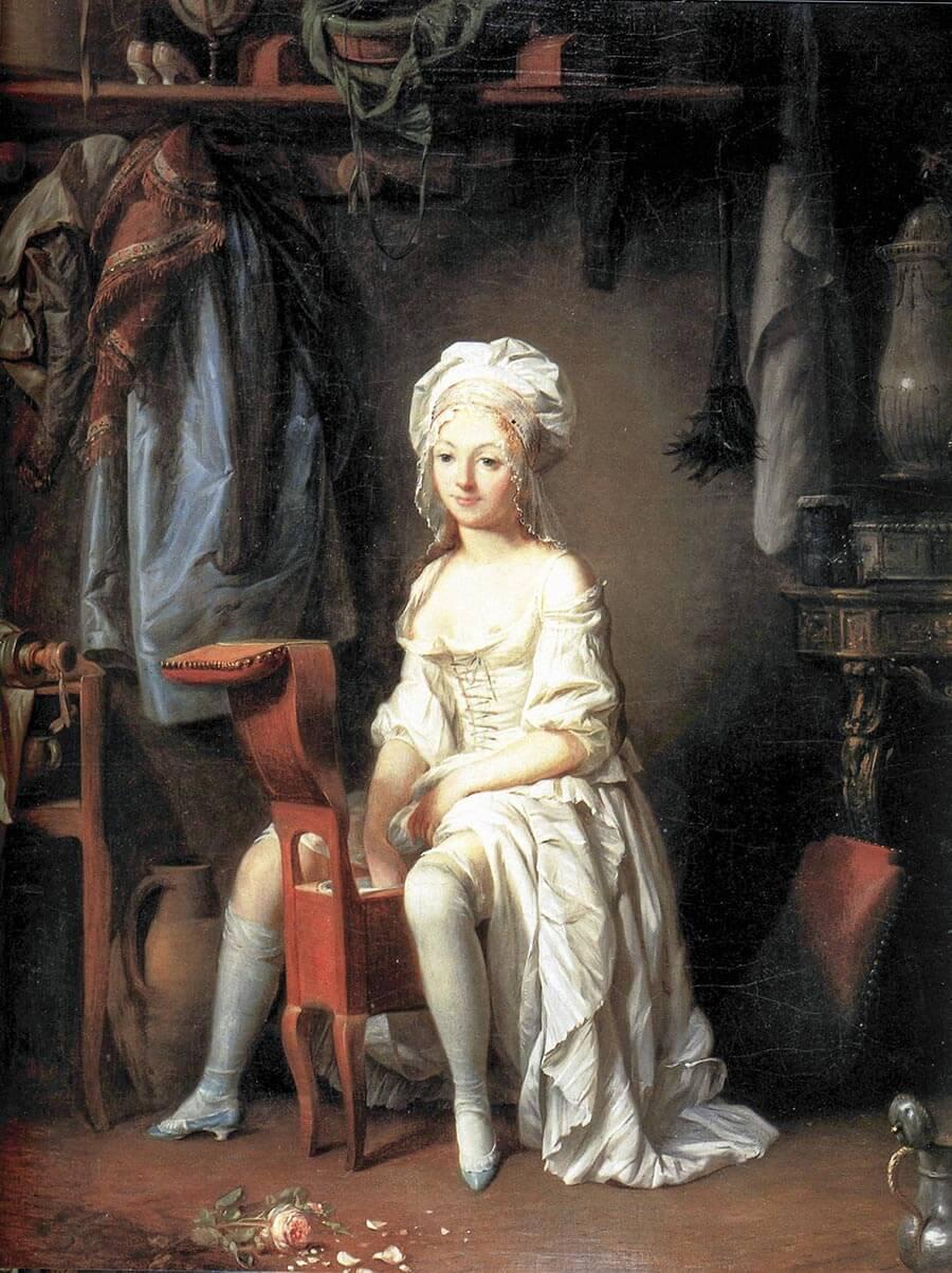 Das erste Bild eines Bidets, 'La toilette intime' von Louis-Léopold Boilly 1741 © Wikipedia