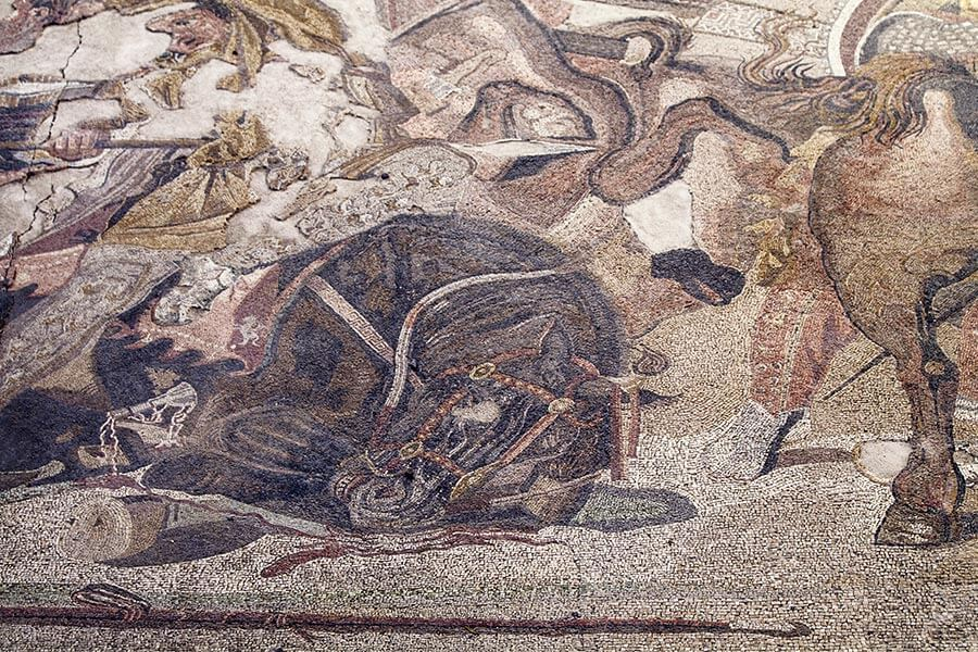 Detail aus dem Mosaik der Alexanderschlacht in Pompeij, etwa 150 v. Chr. © Siegbert Mattheis