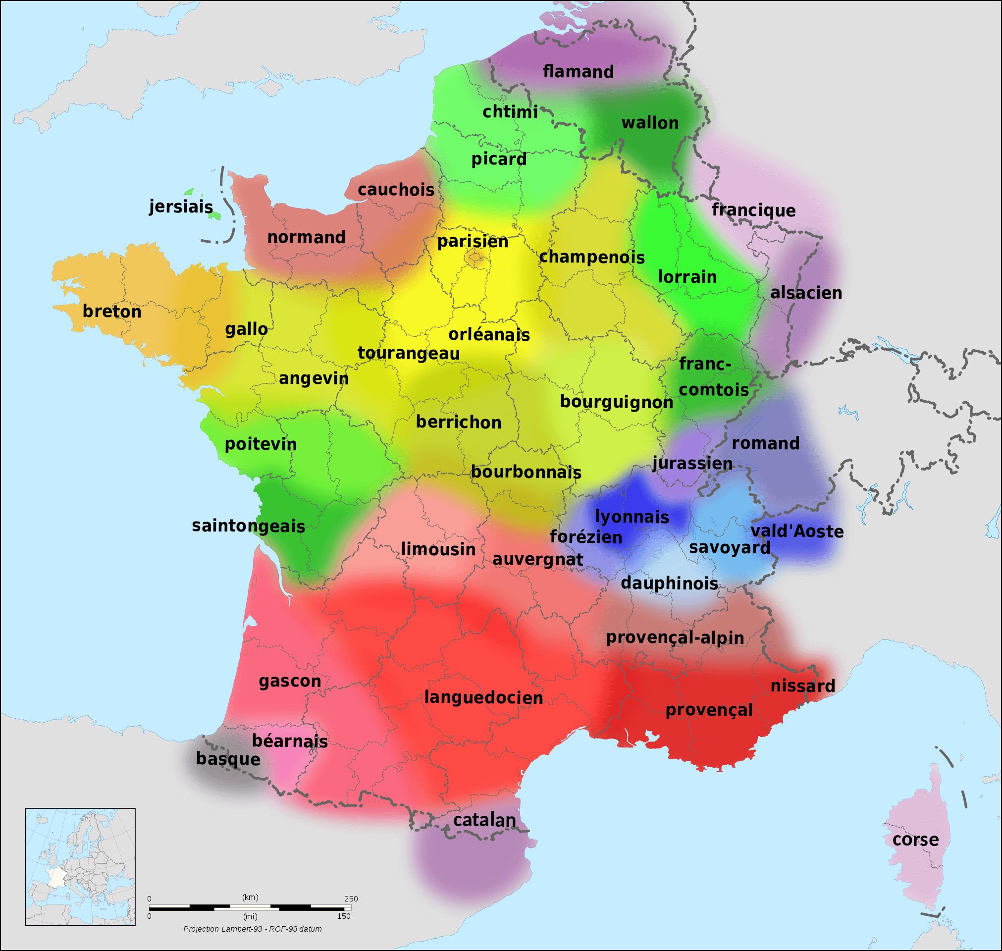 Die rötlichen Farben bilden das okzitanische Sprachgebiet ab © Wikipedia