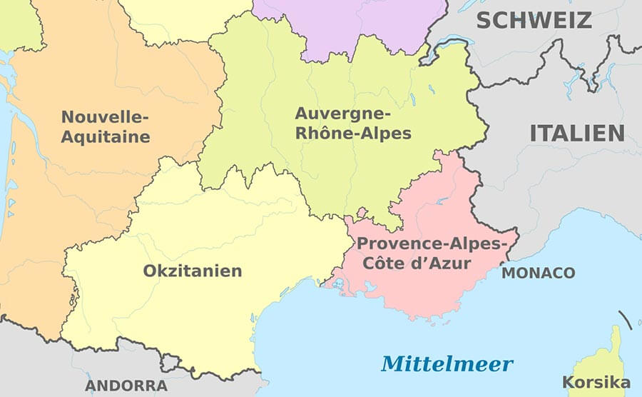 Die seit 2016 neue Region Okzitanien © Wikipedia