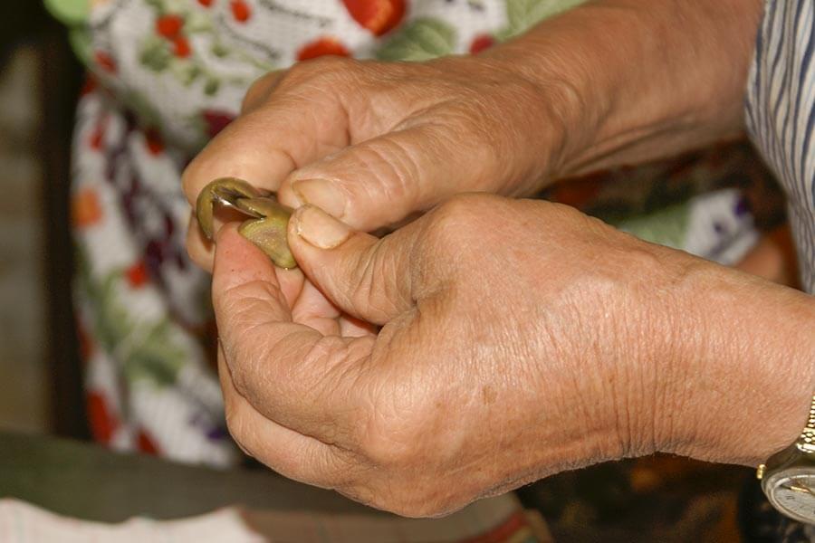 Die Oliven werden entkernt und wie eine Orange geschält © Siegbert Mattheis