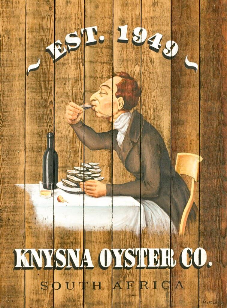 Der Austernesser, Acrylgemälde auf alten Holzplanken