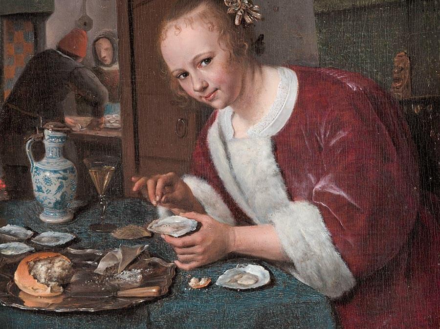 """Jan Steen, """"La Mangeuse d'huîtres"""", die Austernesserin (1658-1660), Mauritshuis, La Haye"""