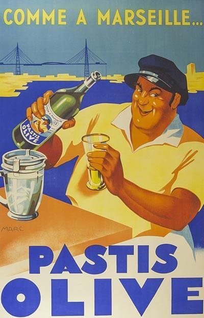 Das berühmte Pastis-Plakat aus Marseille aus den 1930er Jahren