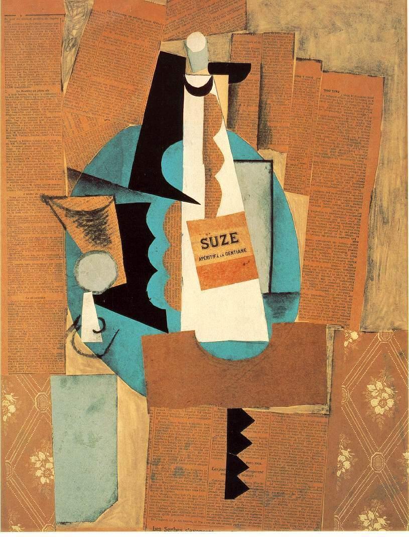 """""""Verre et bouteille de Suze"""", Gemälde von Picasso 1912 © Wikipedia"""