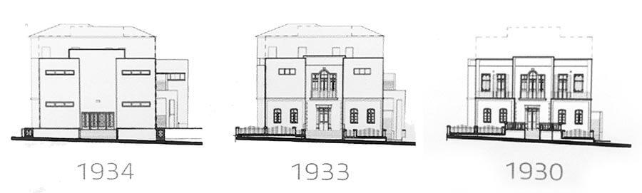 1909 von der Familie Dizengoff gebaut, wurde ab 1933 seine Fassade im modernistischen Stil verändert © Siegbert Mattheis