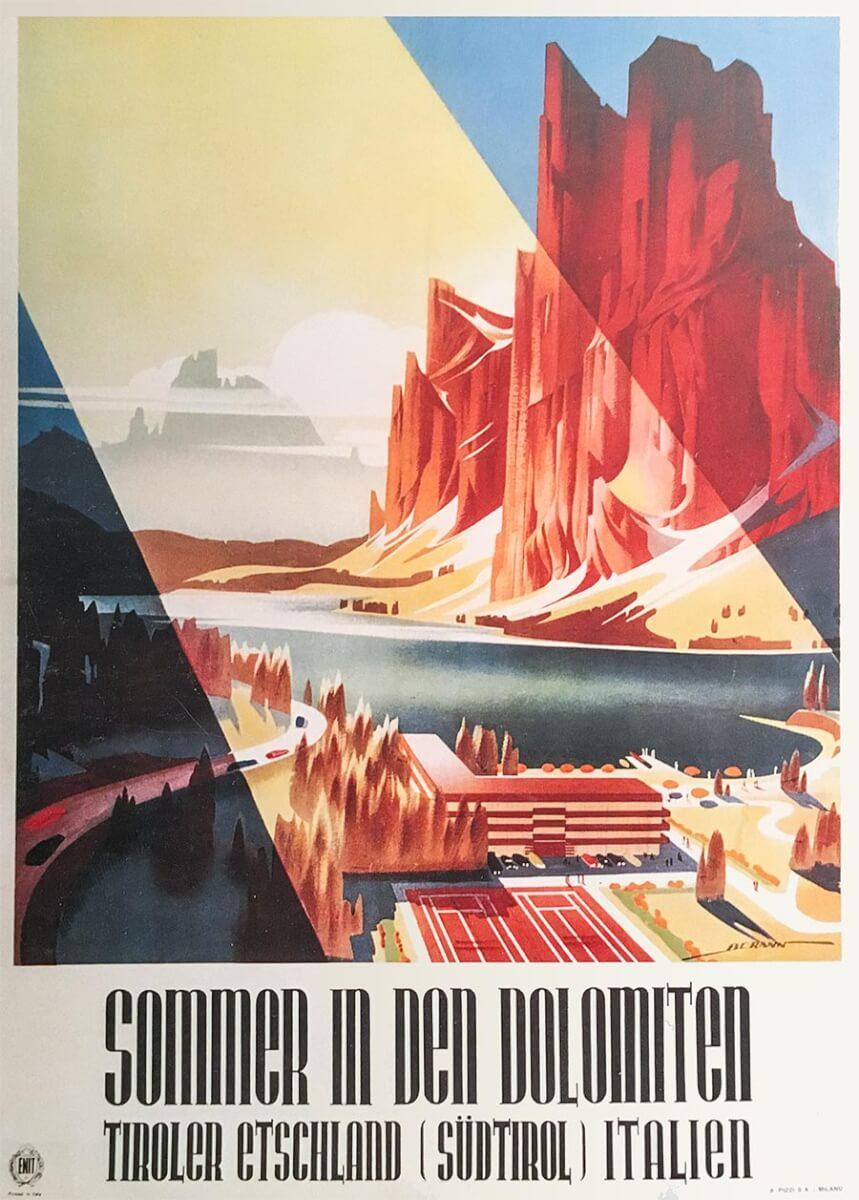 Vintage-Werbeplakat für Sommer in den Dolomiten, 1950 © ENIT