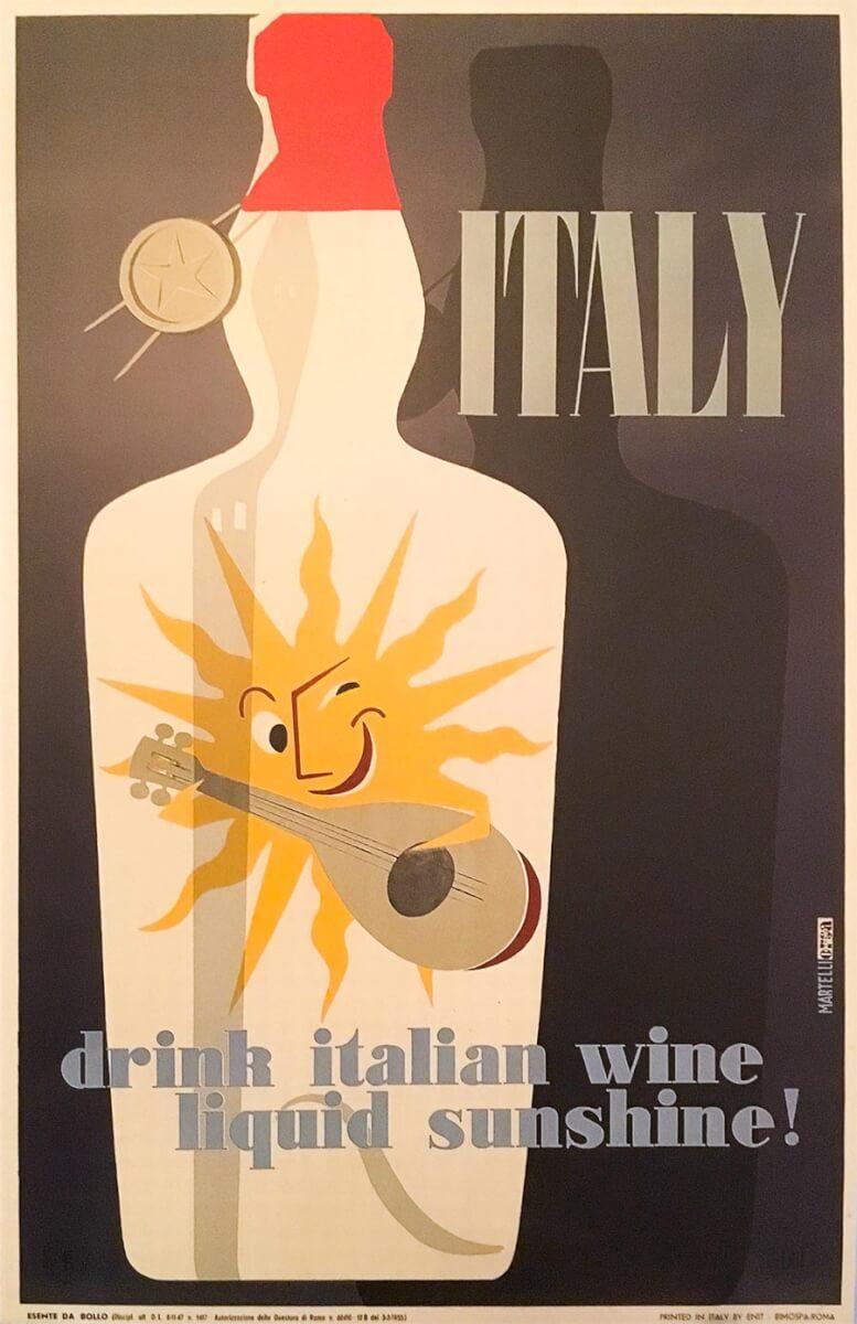 Vintage-Werbeplakat für italienischen Wein 1950er Jahre © ENIT