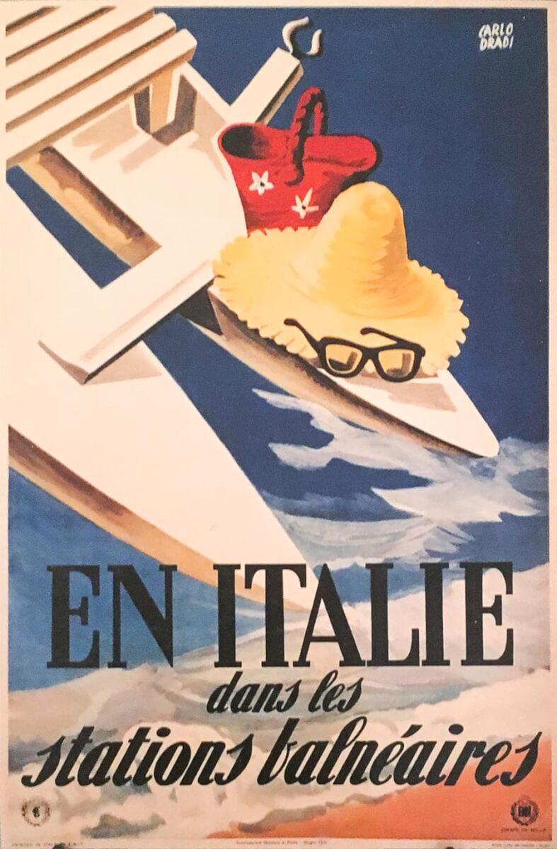 Retro-Werbeplakat für einen Badeurlaub in Italien, 1950er Jahre © ENIT