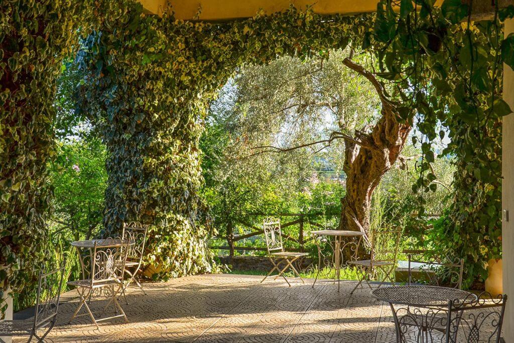 Überdachte und berankte Veranda mit filigranen Eisenstühlen auf Sizilien © Siegbert Mattheis