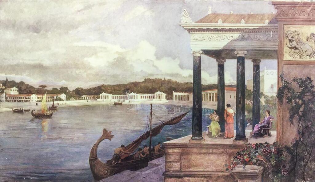 Künstlerische Rekonstruktion der Villen von H. u. L. Charlemont 1924, NP Brijuni