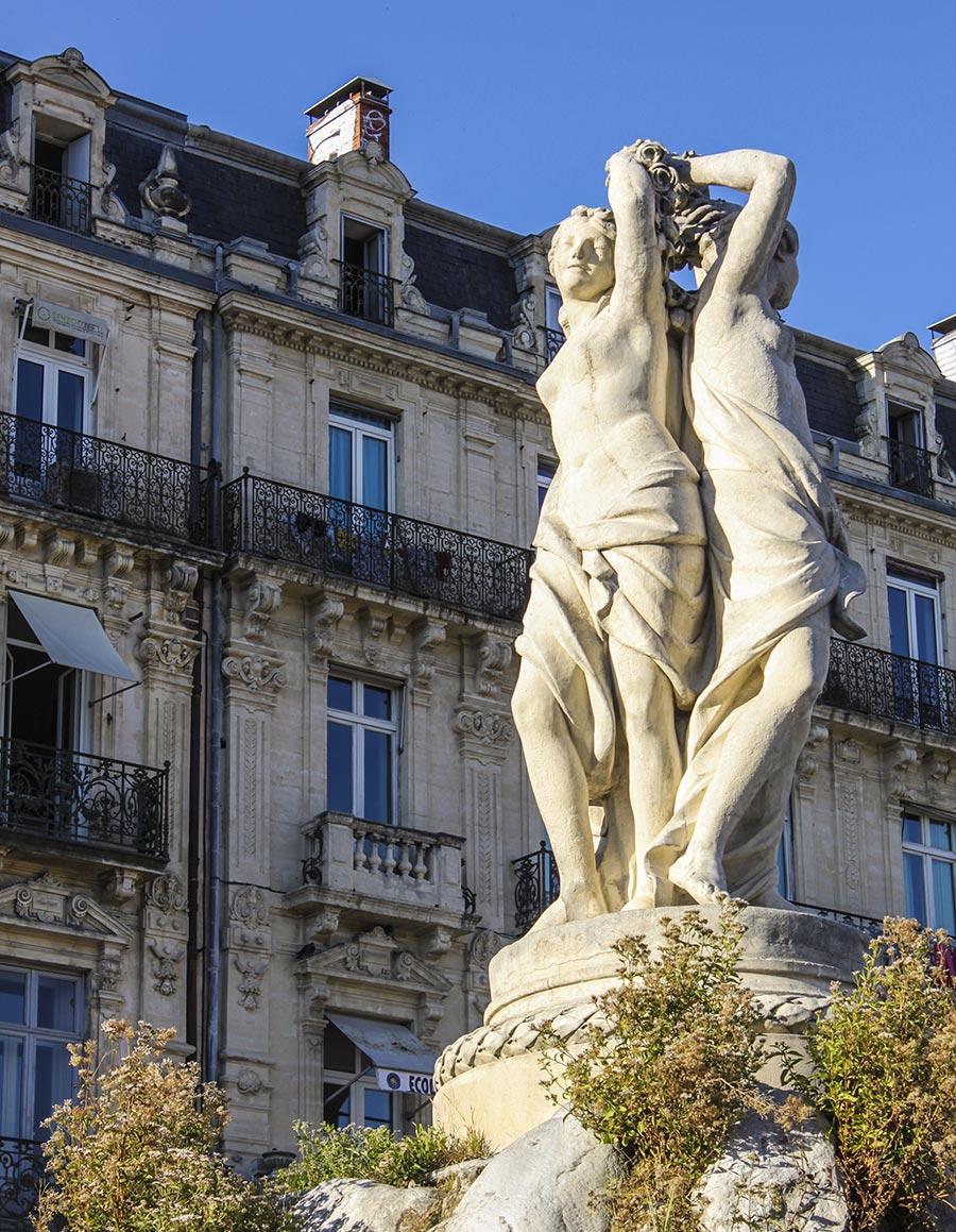 Die drei Grazien auf dem Place de la Comédie © Siegbert Mattheis