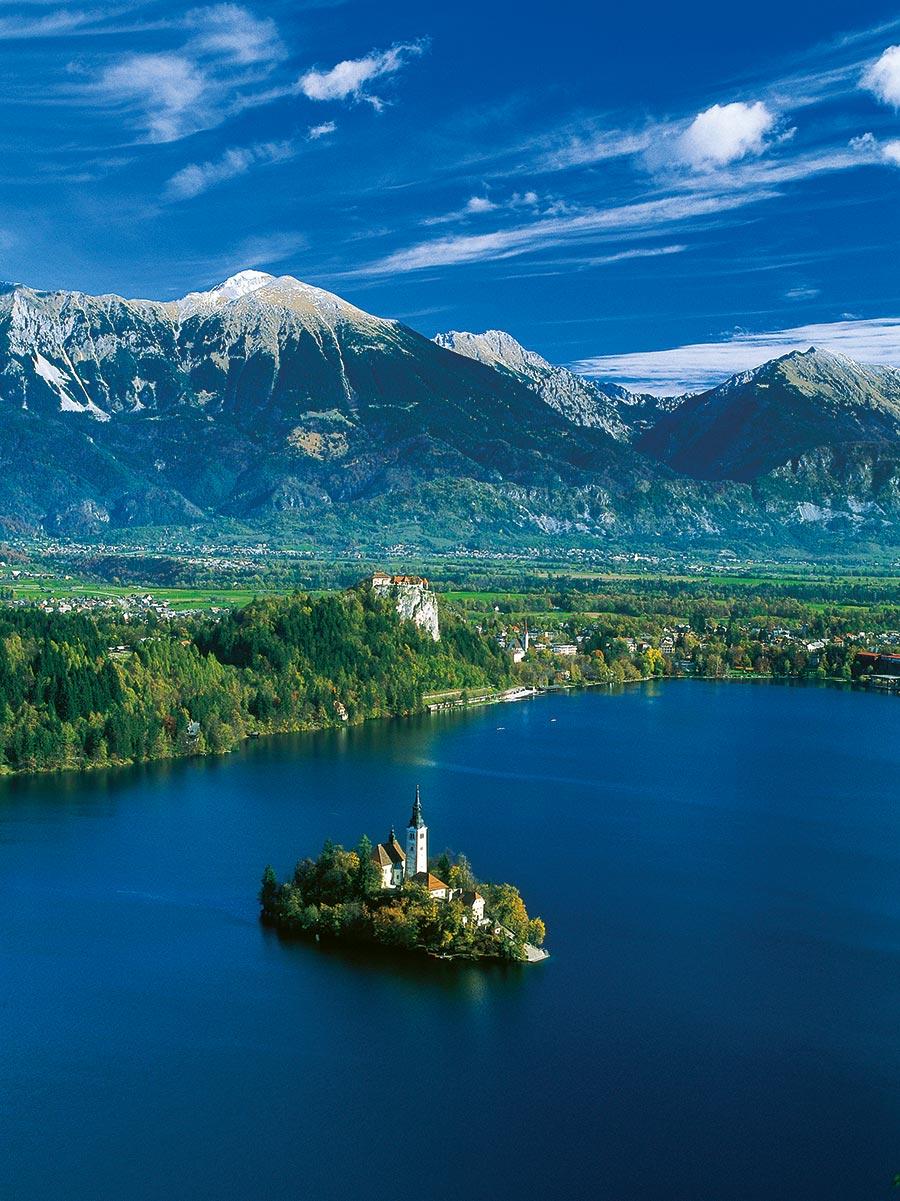Bled, im Vordergrund die Insel mit Kirche