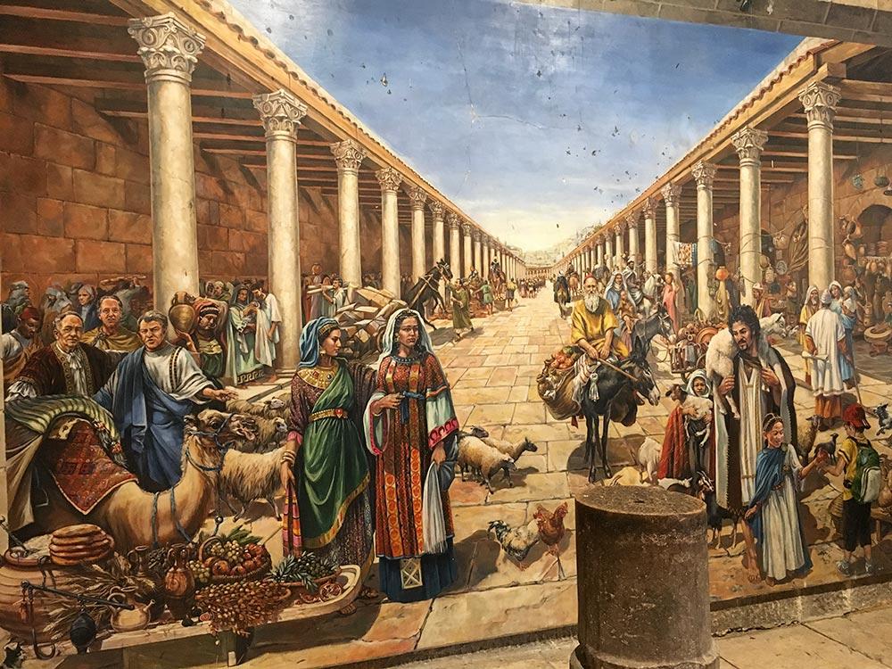 Gemälde, das den Cordo in der Römerzeit darstellt