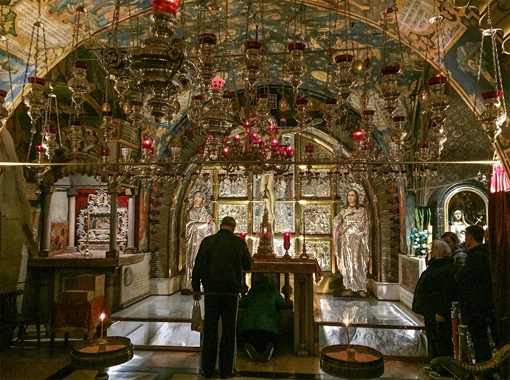 Der Golgatha-Felsen, wo das Kreuz Jesu gestanden haben soll