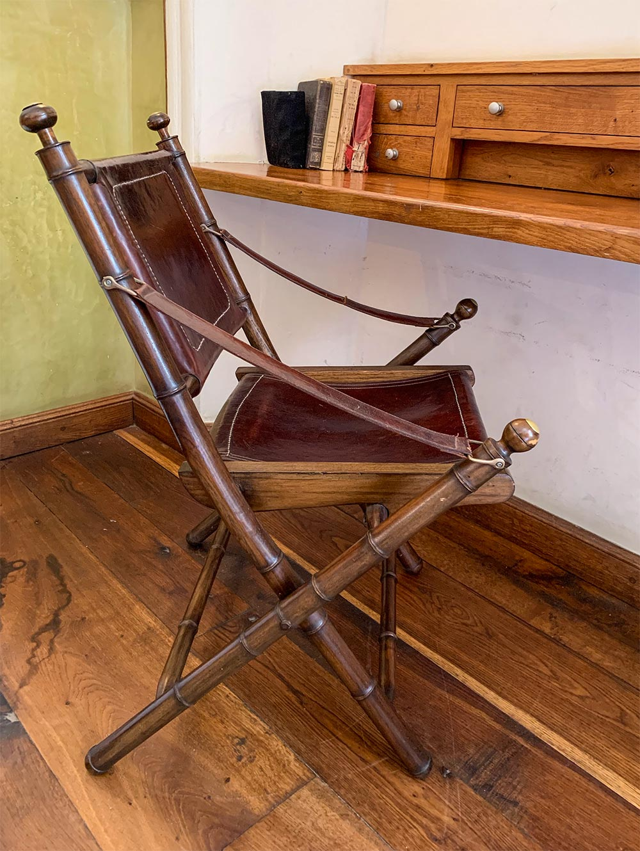 Klappstuhl aus Bambus und Leder © Siegbert Mattheis