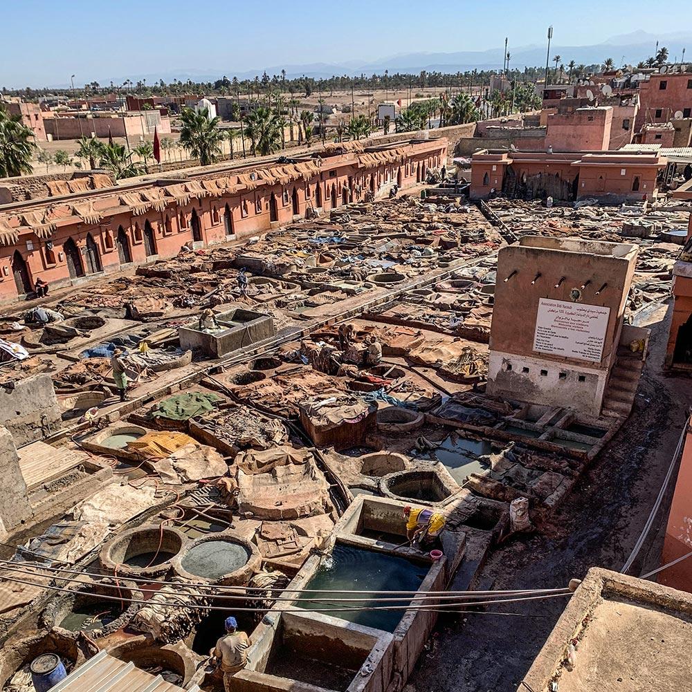 Marrakech Tanneries, das Gerberviertel in Marrakech von oben