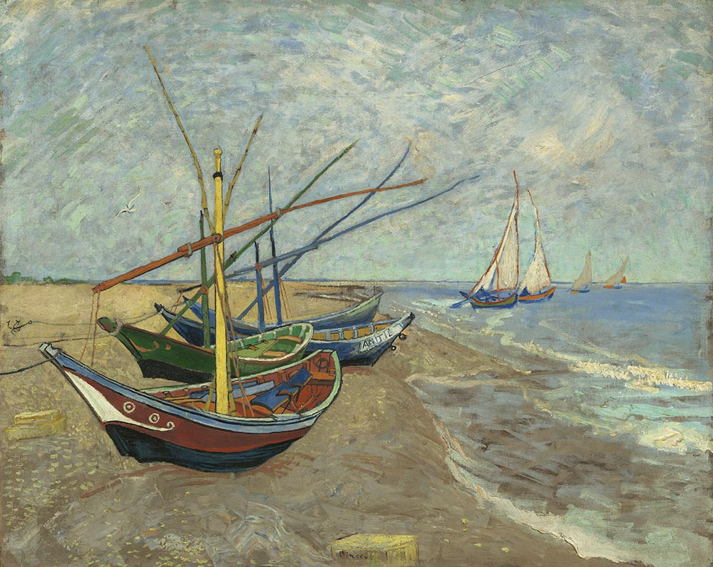 Vincent van Gogh, Segelboote am Strand von Les Saintes-Maries-de-la-Mer, 1888 Öl auf Leinwand