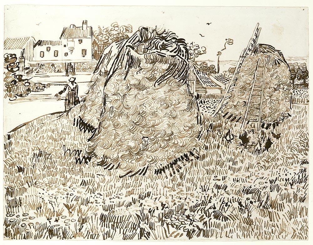 Vincent van Gogh, Die Strohhaufen, 1888 Bleistift, braune Tusche und Rohrfeder