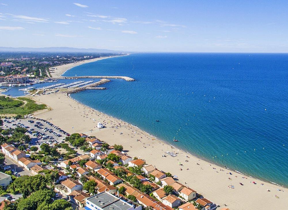 Argelès sur mer, Strandansicht aus der Luft