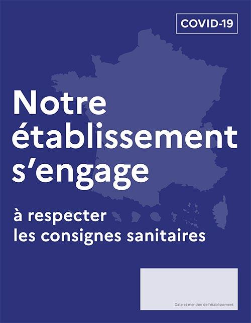 """Plakat """"notre ètablissement s'engage"""", deutsch """"Unsere Einrichtung verpflichtet sich"""""""