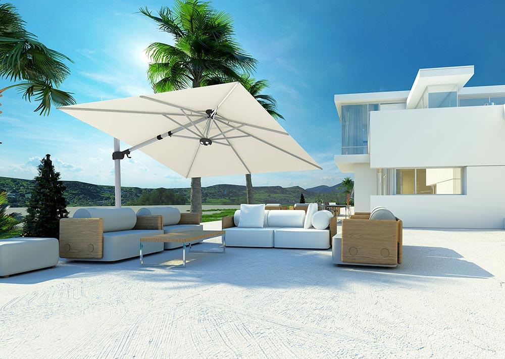 Schwenkbarer Sonnenschirm in Weiss für Balkon und Terrasse