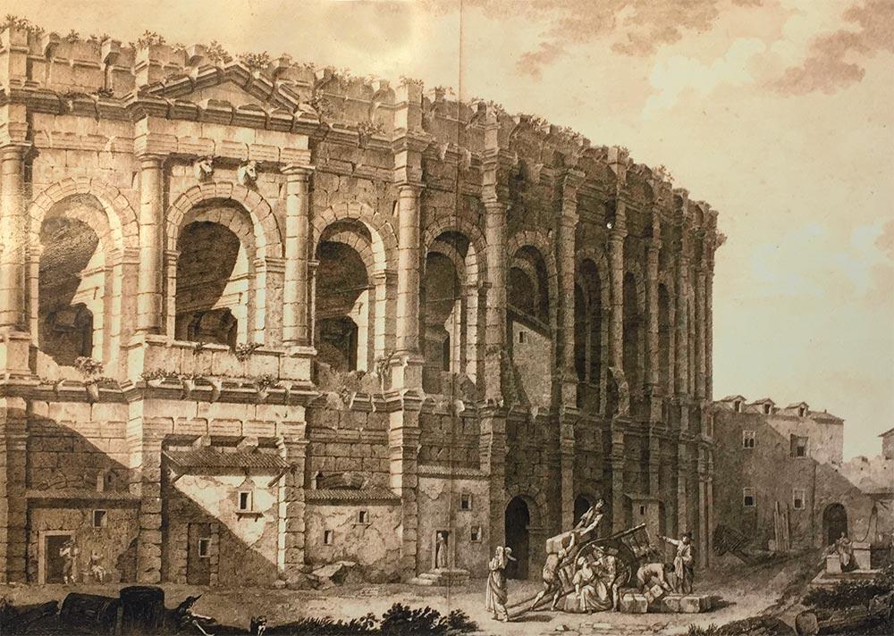 Die Arena 1804, Ausstellungstafel im Amphitheater