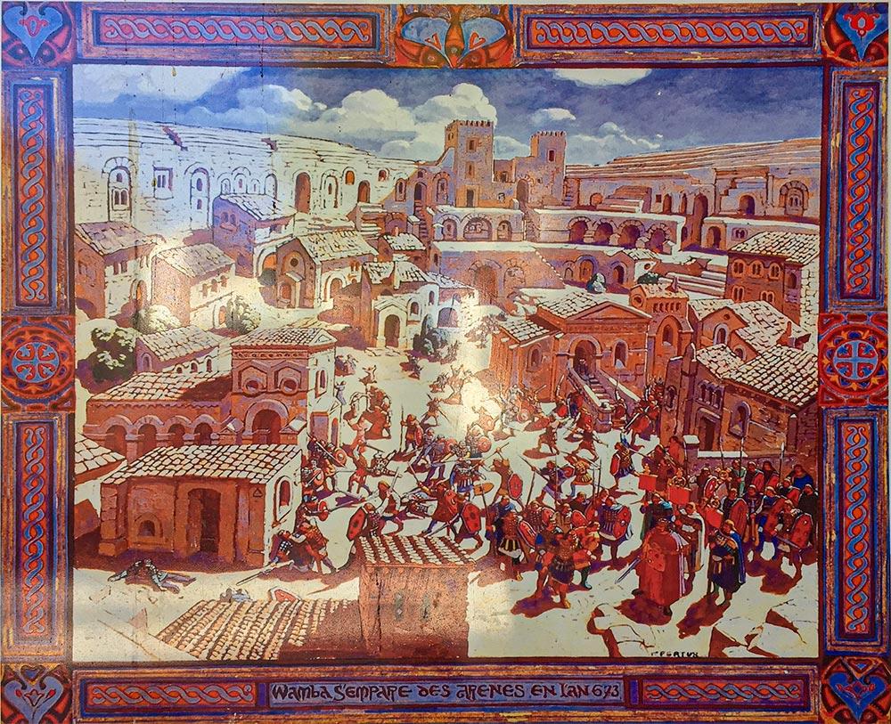 Die Arena im Jahre 673, Ausstellungstafel im Amphitheater